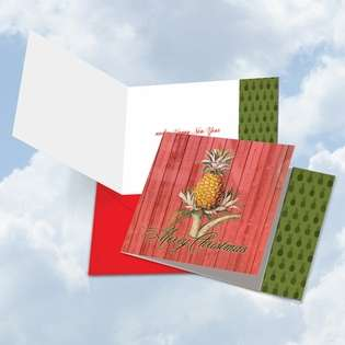 Stylish Christmas Square Printed Card from NobleWorksCards.com - Holiday Harvest