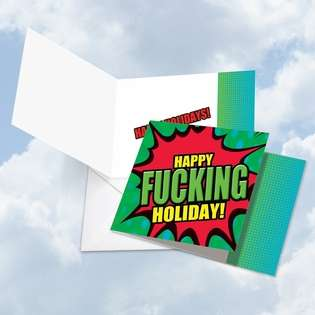 Funny Happy Holidays Square Printed Greeting Card from NobleWorksCards.com - F-king Amazing