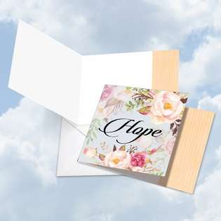 Creative Blank Square Greeting Card by Batya Sagy from NobleWorksCards.com - In a Word - Hope