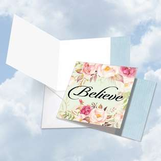 Stylish Blank Square Printed Card by Batya Sagy from NobleWorksCards.com - In a Word - Believe
