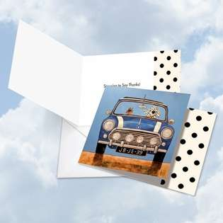 Creative Thank You Square Printed Greeting Card by Ed Van Der Hoek from NobleWorksCards.com - See Spot Drive a Mini Cooper