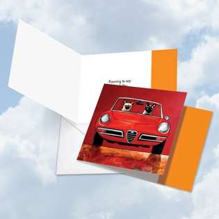 Stylish Thank You Square Printed Greeting Card by Ed Van Der Hoek from NobleWorksCards.com - Siamese Car Cats