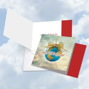 Stylish Christmas Square Printed Greeting Card from NobleWorksCards.com - Joy To The Globe