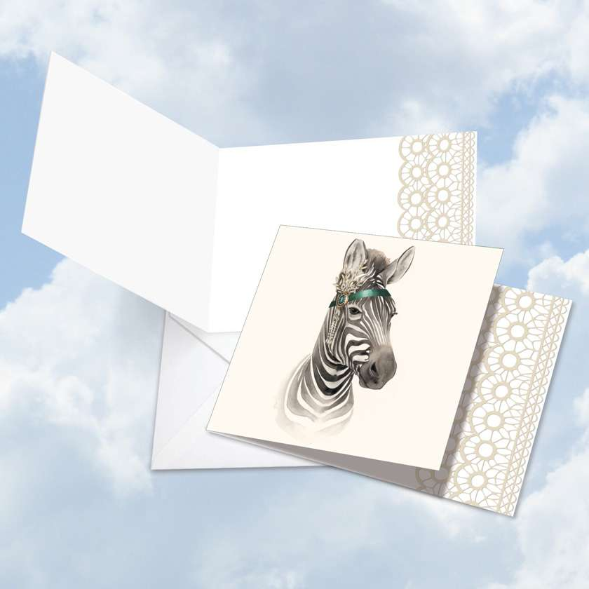 Stylish Blank Square Greeting Card by World Art Group from NobleWorksCards.com - Wildlife Glamour Zebra