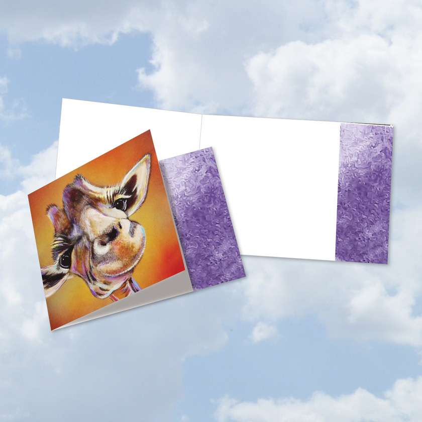 Stylish All Occasions Square-Top Paper Card By Adam Barsby From NobleWorksCards.com - Animal Magnetism-Giraffe
