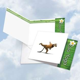 Creative Blank Square Paper Greeting Card by Willow Creek Press from NobleWorksCards.com - Zoo Yoga - Lemur