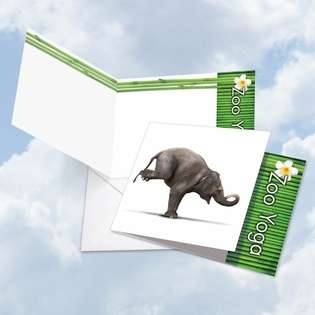 Creative Blank Square Printed Card by Willow Creek Press from NobleWorksCards.com - Zoo Yoga - Elephant