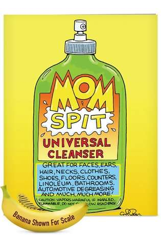 Humorous Mother's Day Jumbo Greeting Card by Daniel Collins from NobleWorksCards.com - Mom Spit