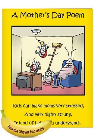 Hilarious Mother's Day Jumbo Printed Greeting Card by Tim Whyatt from NobleWorksCards.com - Moms Day Poem
