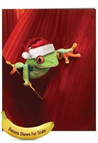 Stylish Christmas Jumbo Printed Card from NobleWorksCards.com - Yule Frogs