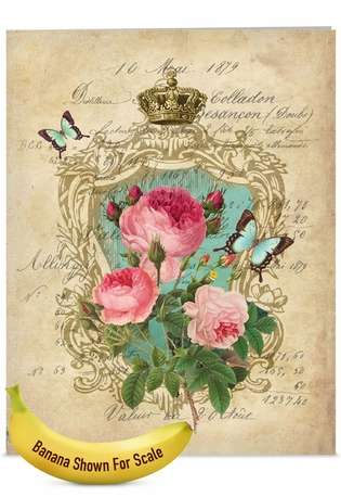 Stylish Mother's Day Jumbo Paper Greeting Card by Batya Sagy from NobleWorksCards.com - Romance And Roses