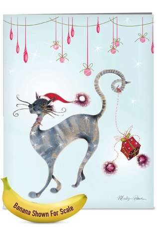 Stylish Christmas Jumbo Paper Greeting Card by Marilyn Robertson from NobleWorksCards.com - Catitude Festive Felines