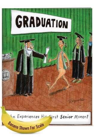 Senior Moment Naked Cartoon Graduation Greeting Card