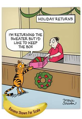 Hilarious Christmas Jumbo Paper Card by Maria Scrivan from NobleWorksCards.com - Keep The Box