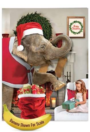 Funny Christmas Jumbo Paper Card from NobleWorksCards.com - Elefantasy