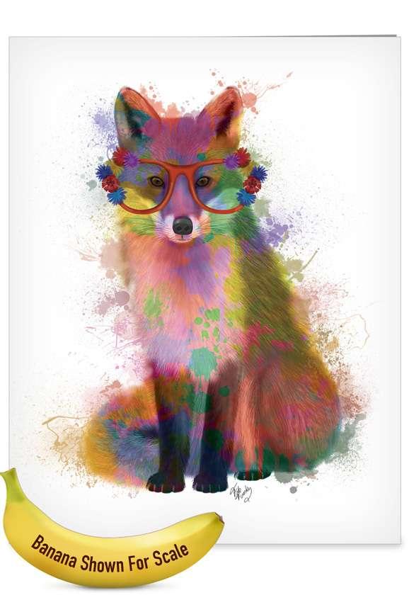 Creative Birthday Jumbo Greeting Card By World Art Group From NobleWorksCards.com - Funky Rainbow Wildlife - Fox