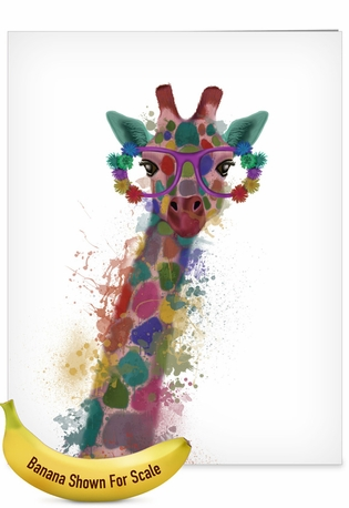Stylish Congratulations Jumbo Paper Card By World Art Group From NobleWorksCards.com - Funky Rainbow Wildlife - Giraffe