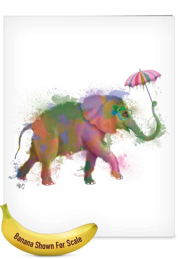 Creative Birthday Jumbo Printed Card By World Art Group From NobleWorksCards.com - Funky Rainbow Wildlife - Elephant