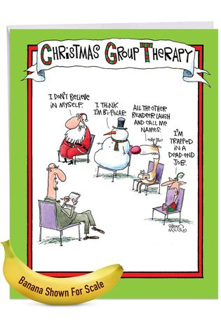 Humorous Merry Christmas Jumbo Card By Glenn McCoy From NobleWorksCards.com - Group Therapy