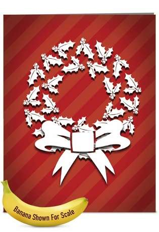 Stylish Christmas Jumbo Paper Greeting Card from NobleWorksCards.com - Holly Dimensions