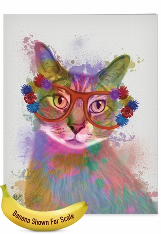 Stylish Birthday Jumbo Paper Greeting Card By World Art Group From NobleWorksCards.com - Funky Rainbow Cats - Cool Cat