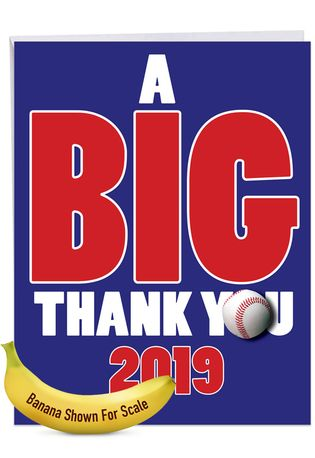 Hysterical Graduation Thank You Jumbo Greeting Card From NobleWorksCards.com - Baseball - 2019