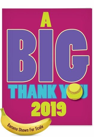 Funny Graduation Thank You Jumbo Card From NobleWorksCards.com - Softball - 2019