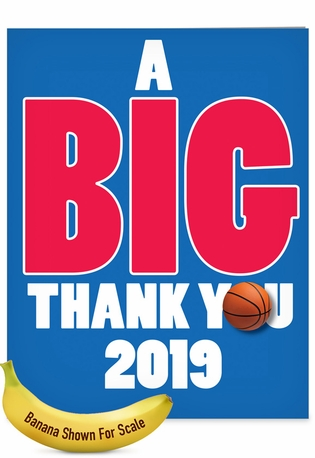 Humorous Graduation Thank You Jumbo Paper Card From NobleWorksCards.com - Basketball - 2019