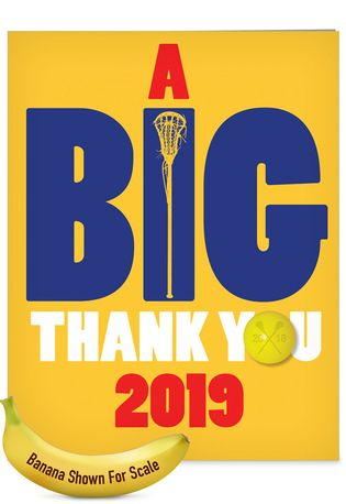 Humorous Graduation Thank You Jumbo Paper Card From NobleWorksCards.com - Lacrosse - 2019