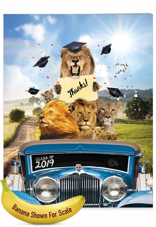 Creative Graduation Thank You Jumbo Greeting Card From NobleWorksCards.com - Lion Mascots - 2019