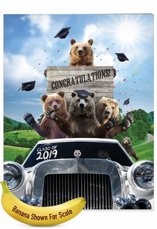 Creative Graduation Jumbo Greeting Card From NobleWorksCards.com - Bear Mascot - 2019