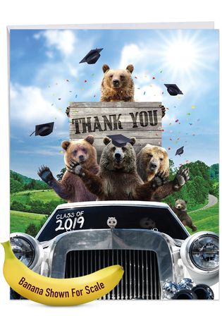 Stylish Graduation Thank You Jumbo Paper Greeting Card From NobleWorksCards.com - Bear Mascot - 2019