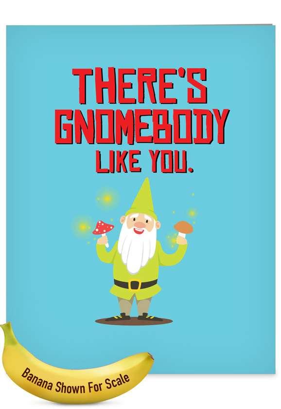 Stylish Birthday Jumbo Card From NobleWorksCards.com - Friendly Garden Gnomes - Gnomebody