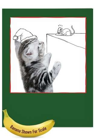 Stylish Christmas Jumbo Printed Greeting Card from NobleWorksCards.com - Cats & Doodles