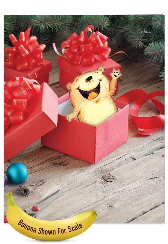 Stylish Christmas Jumbo Greeting Card by Scott Nelson from NobleWorksCards.com - Holiday Fuzzy Tummies