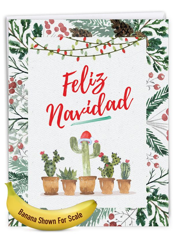 Humorous Merry Christmas Jumbo Paper Card From NobleWorksCards.com - Feliz Navidad
