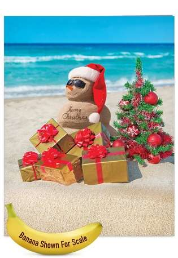 Creative Christmas Jumbo Printed Card from NobleWorksCards.com - Season's Beachin'