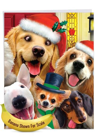 Creative Merry Christmas Jumbo Printed Greeting Card By Howard Robinson From NobleWorksCards.com - Merry Christmas to Zoo - Dogs