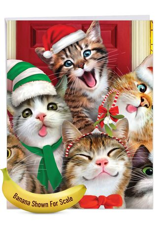 Stylish Merry Christmas Jumbo Card By Howard Robinson From NobleWorksCards.com - Merry Christmas to Zoo - Cats