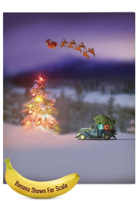 Stylish Christmas Jumbo Printed Card from NobleWorksCards.com - Toy Trucks 'N Trees