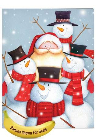 Stylish Christmas Jumbo Greeting Card by Portfolio Select Ltd from NobleWorksCards.com - Santa Selfies