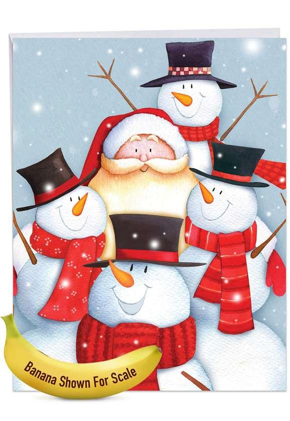 Creative Merry Christmas Jumbo Greeting Card By Julie Oldham From NobleWorksCards.com - Santa Selfies