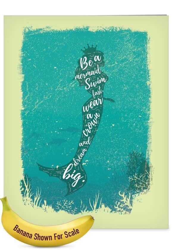 Mermaid Quotes - Swim Fast: Stylish Birthday Big Card