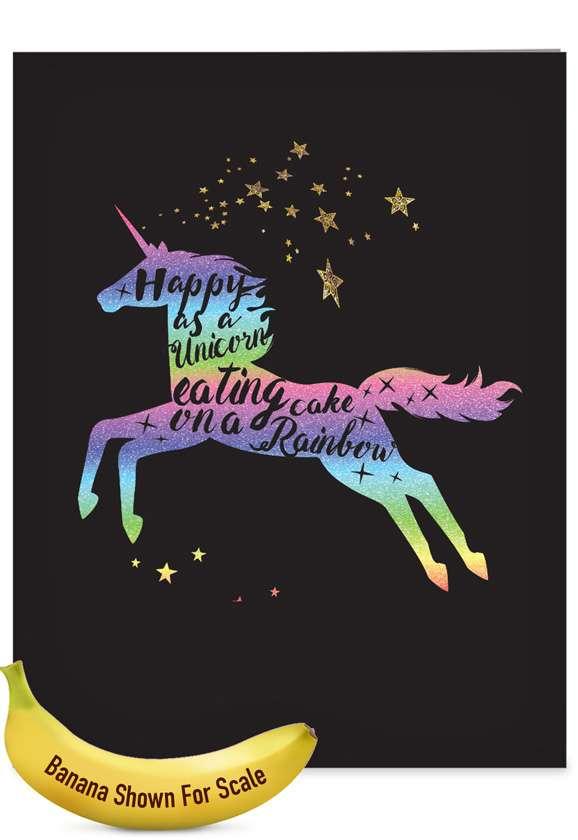 Creative Birthday Jumbo Printed Card From NobleWorksCards.com - Horns and Unicorns - Rainbow Cake