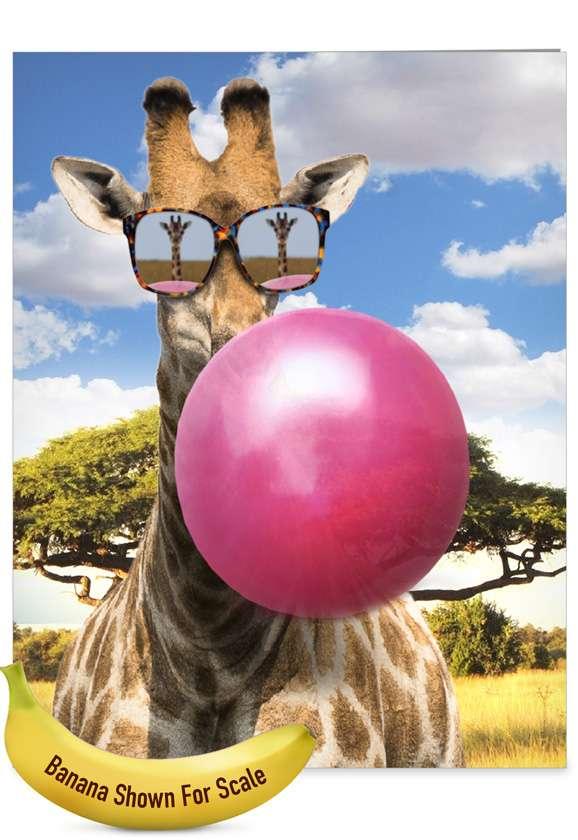 Stylish Birthday Jumbo Paper Greeting Card From NobleWorksCards.com - Balloon Animals - Giraffe