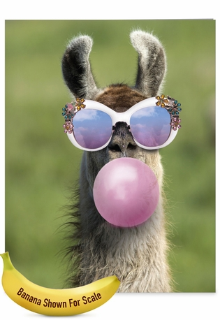 Creative Birthday Jumbo Printed Greeting Card From NobleWorksCards.com - Balloon Animals - Llama