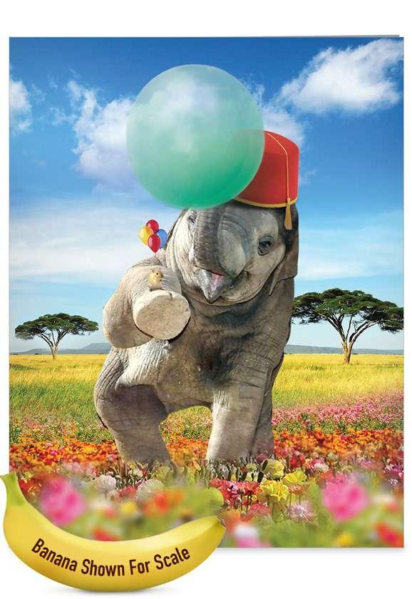 Stylish Birthday Jumbo Card From NobleWorksCards.com - Balloon Animals - Elephant