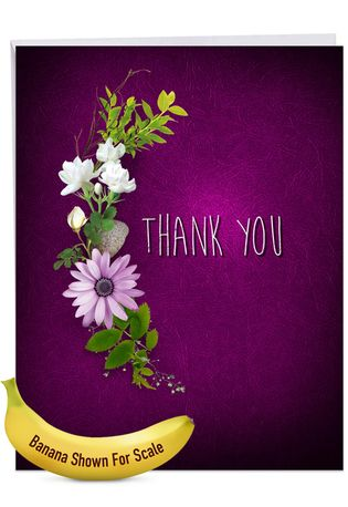 Creative Thank You Jumbo Printed Card From NobleWorksCards.com - Many Thanks - Purple