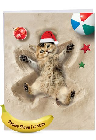 Stylish Merry Christmas Jumbo Paper Card From NobleWorksCards.com - Holiday Sand Angels - Cat