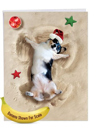 Creative Merry Christmas Jumbo Printed Card From NobleWorksCards.com - Holiday Sand Angels - Dog